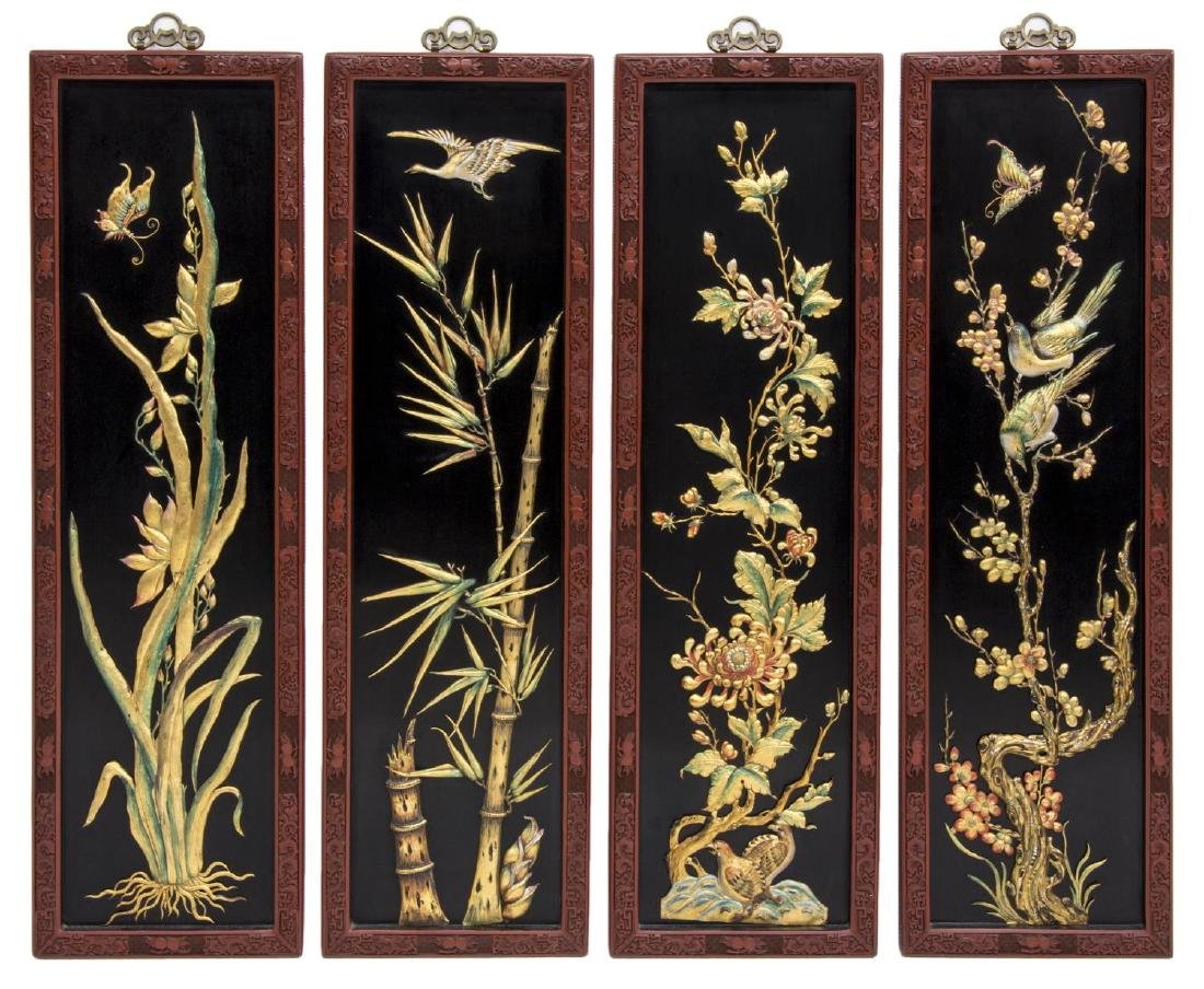 (4) CHINESE BLACK LACQUER WALL PANELS