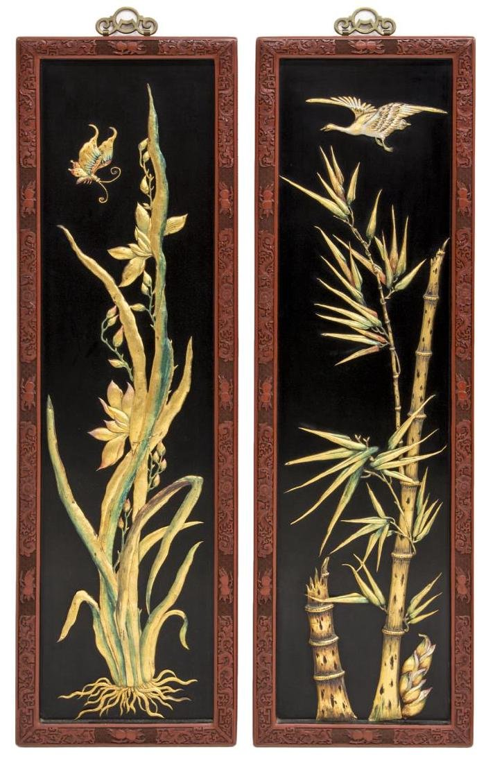 (4) CHINESE BLACK LACQUER WALL PANELS - 2