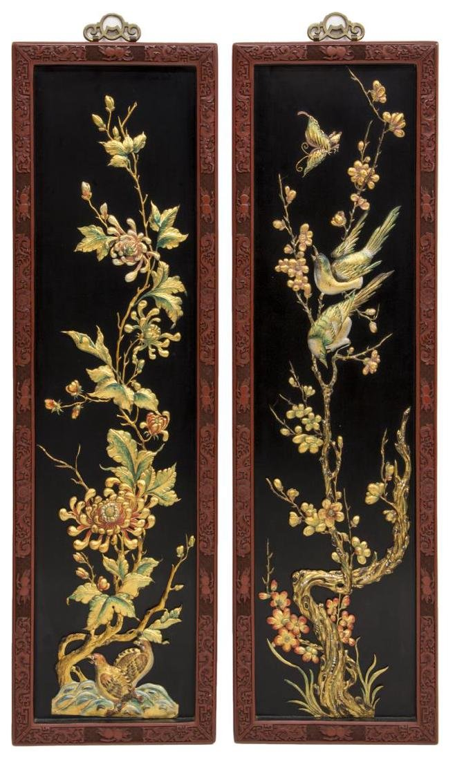 (4) CHINESE BLACK LACQUER WALL PANELS - 3