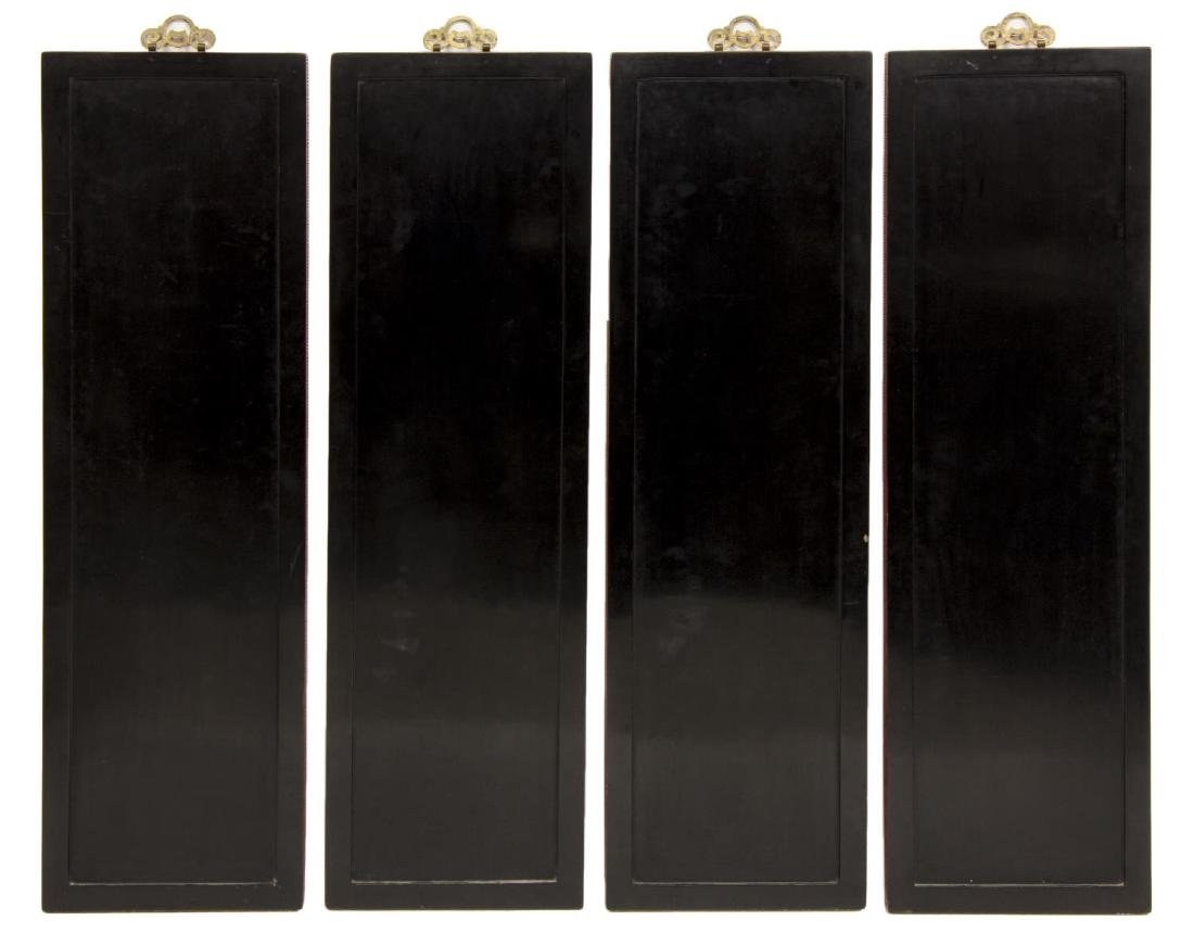 (4) CHINESE BLACK LACQUER WALL PANELS - 4
