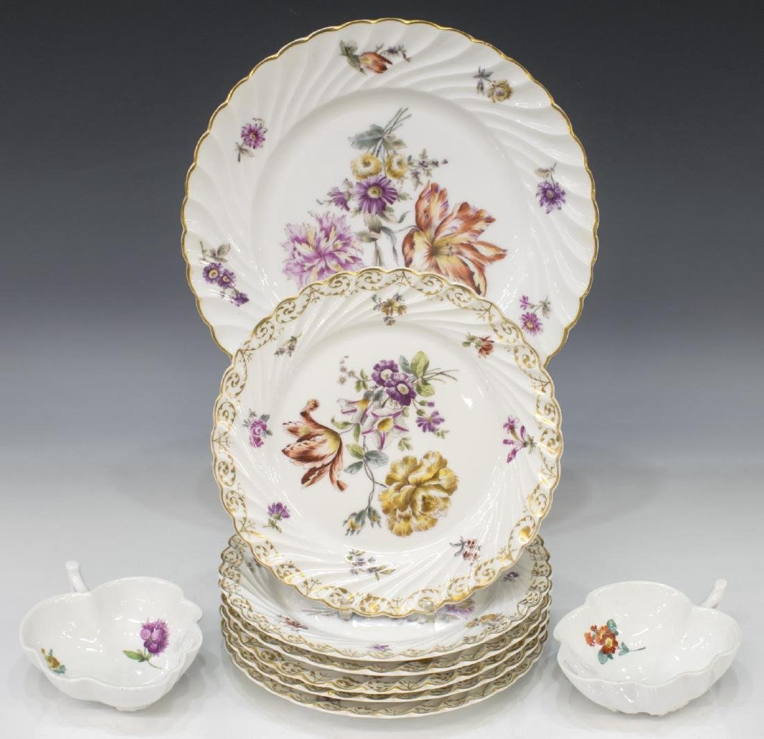 (9) PORCELAIN TABLEWARE, MEISSEN & NYMPHENBURG