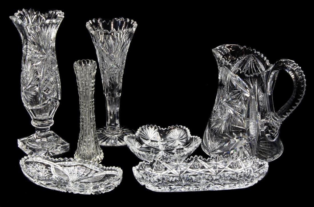 (7)AMERICAN BRILLIANT PERIOD CUT GLASS TABLE ITEMS - 2