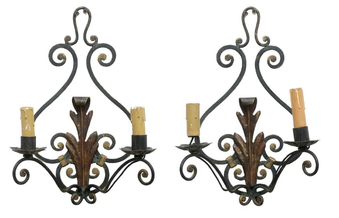 (2) FRENCH SCROLLED IRON TWO-LIGHT WALL SCONCES