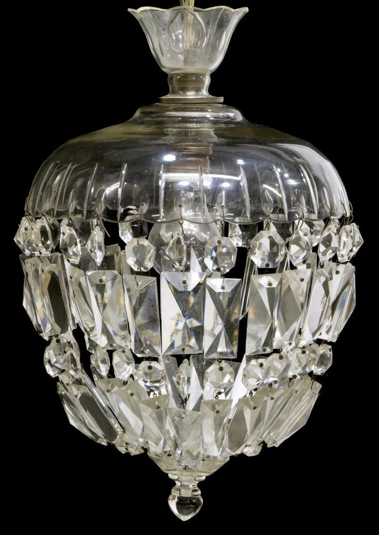 ITALIAN CRYSTAL & GLASS SINGLE LIGHT CHANDELIER