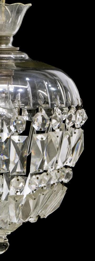 ITALIAN CRYSTAL & GLASS SINGLE LIGHT CHANDELIER - 2
