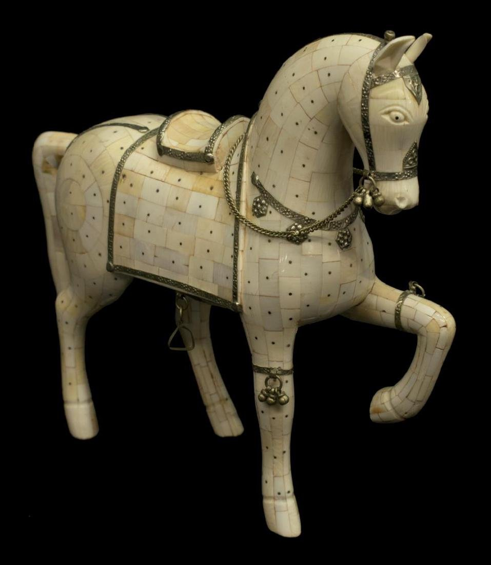 CHINESE TILED BONE MODEL OF A HORSE