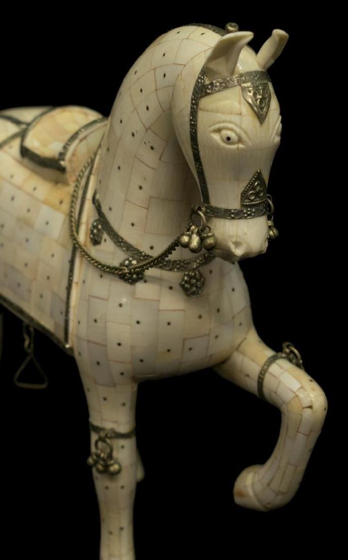 CHINESE TILED BONE MODEL OF A HORSE - 2