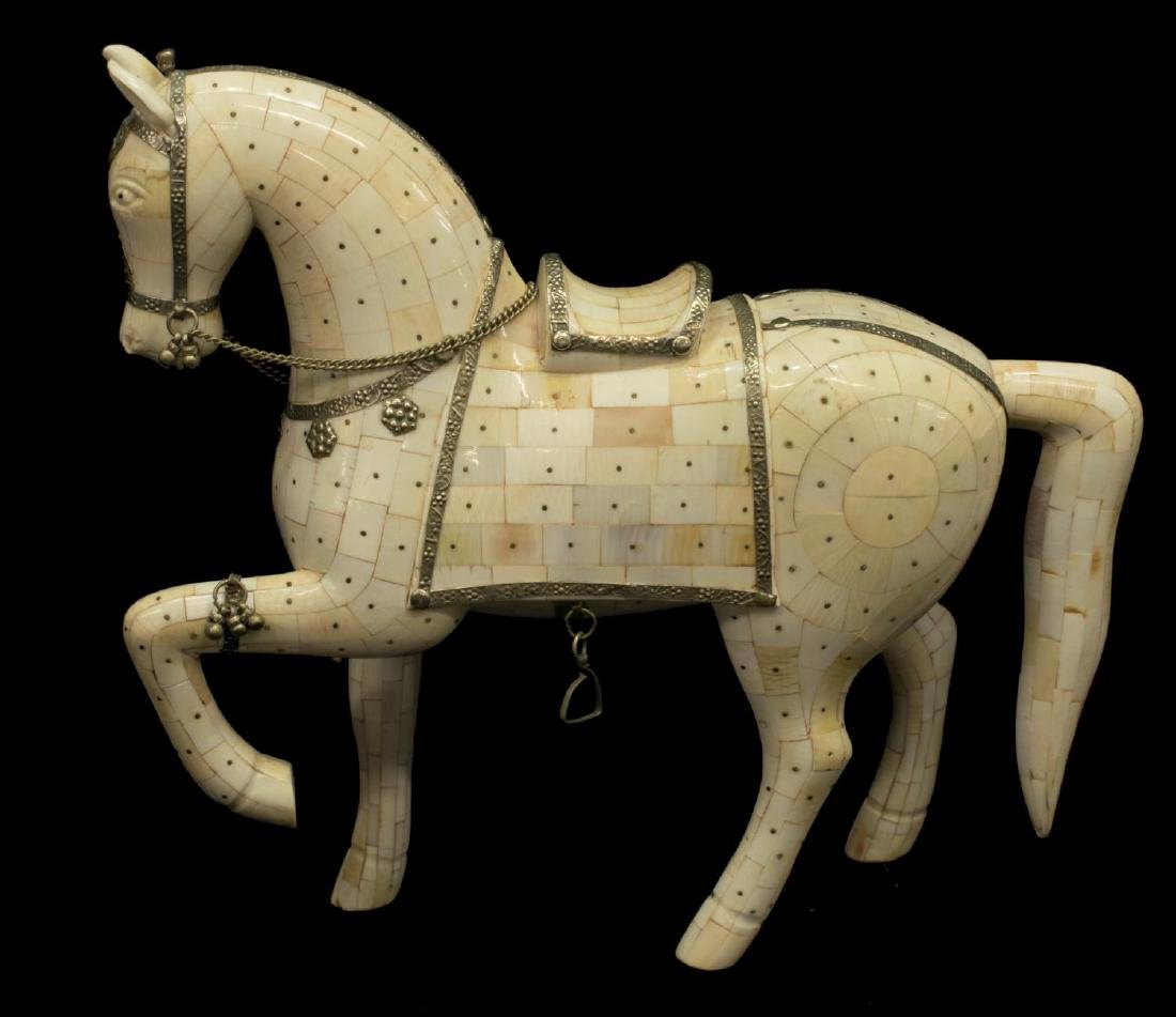 CHINESE TILED BONE MODEL OF A HORSE - 3