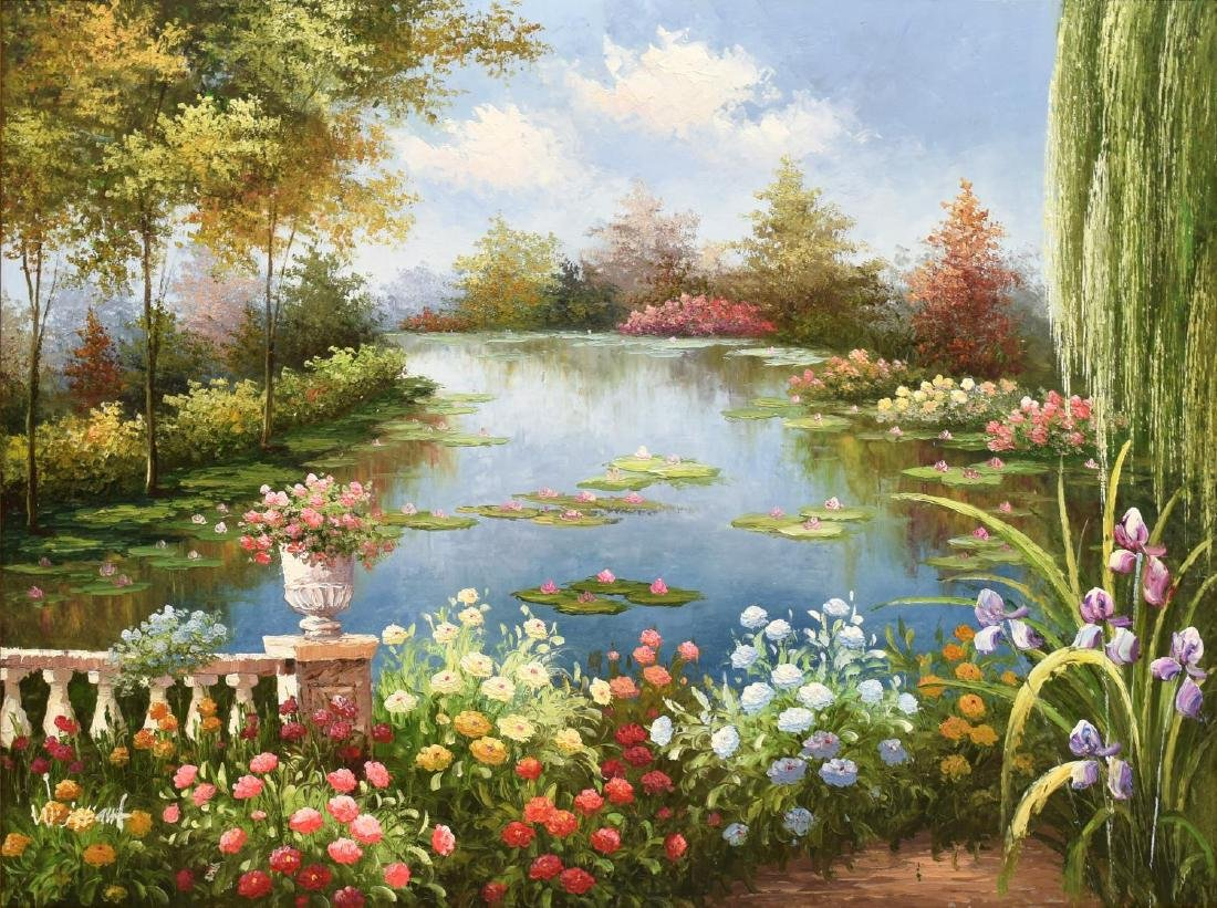 OIL PAINTING, GARDEN POND WITH LILY PAD