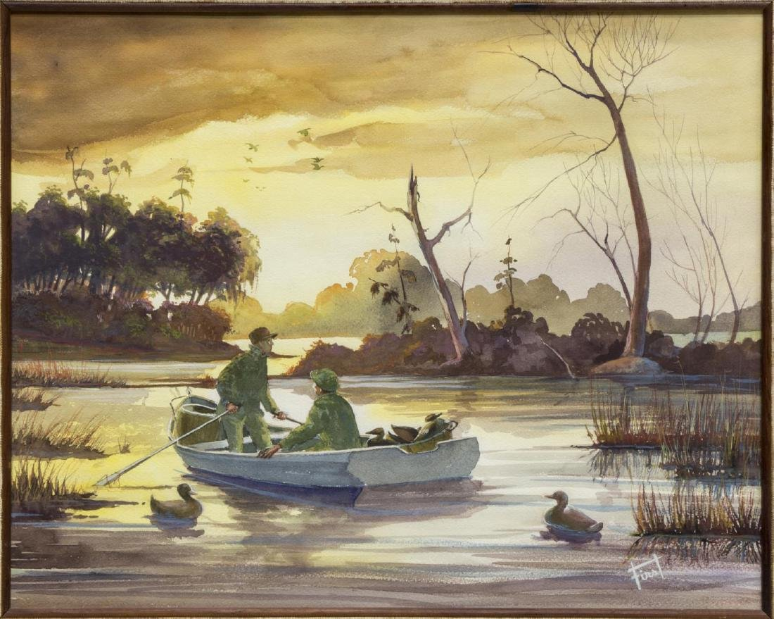 SIGNED WATERCOLOR, DUCK HUNTERS ON LAKE