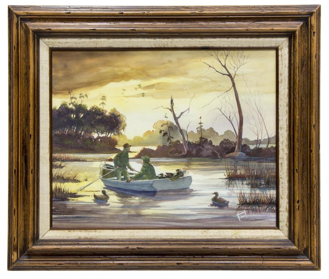 SIGNED WATERCOLOR, DUCK HUNTERS ON LAKE - 2
