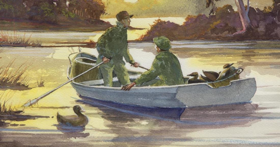 SIGNED WATERCOLOR, DUCK HUNTERS ON LAKE - 3