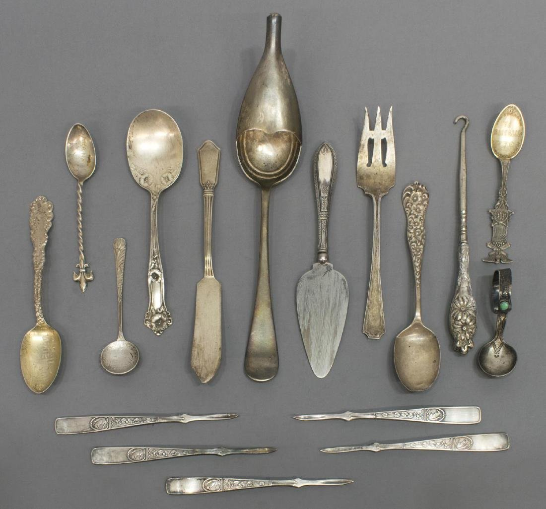 (18) STERLING & SILVERPLATE FLATWARE GROUPING