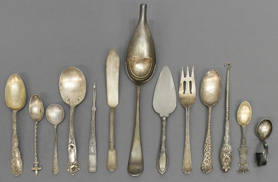 (18) STERLING & SILVERPLATE FLATWARE GROUPING - 2