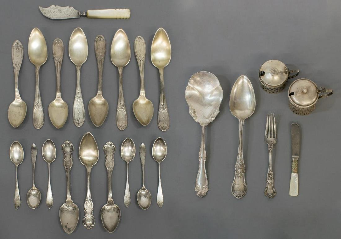 (24) COLLECTION OF STERLING, COIN & PLATE FLATWARE