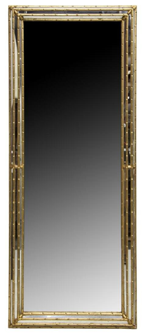 CONTEMPORARY GILT FAUX BAMBOO FRAMED WALL MIRROR