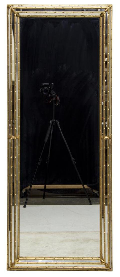 CONTEMPORARY GILT FAUX BAMBOO FRAMED WALL MIRROR - 2