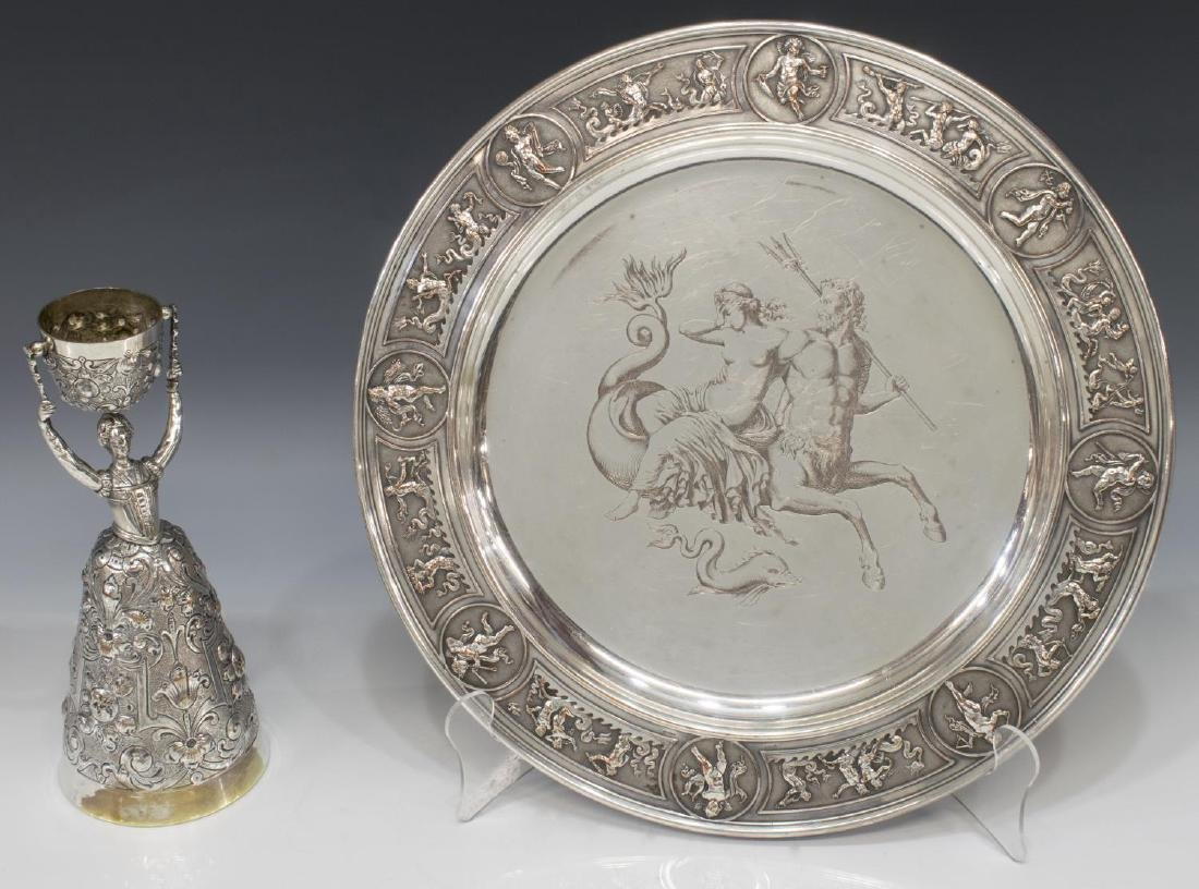 (2) GERMAN SILVERPLATE FIGURAL WEDDING CUP & TRAY