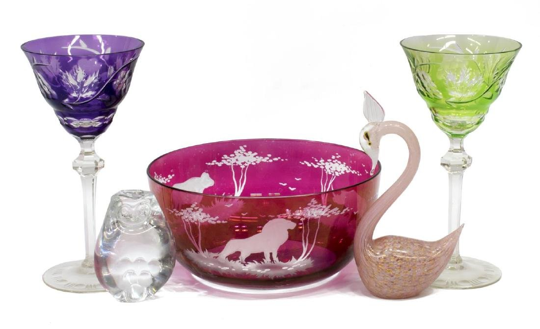 (5) GLASS CABINET & TABLE ITEMS, MURANO, ART GLASS