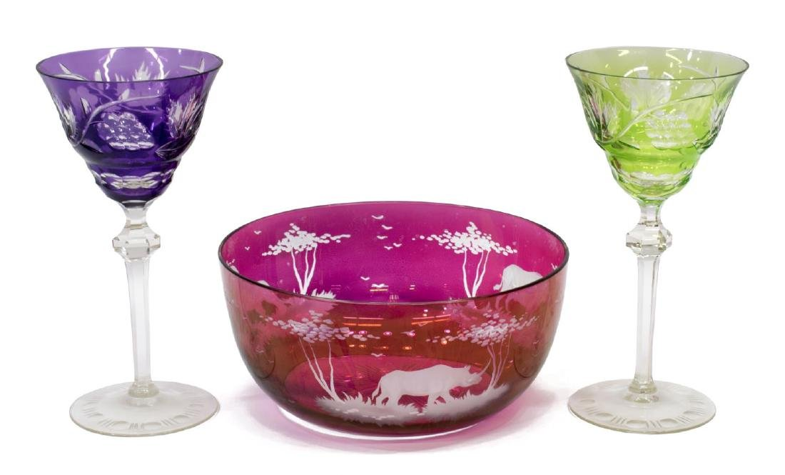 (5) GLASS CABINET & TABLE ITEMS, MURANO, ART GLASS - 2