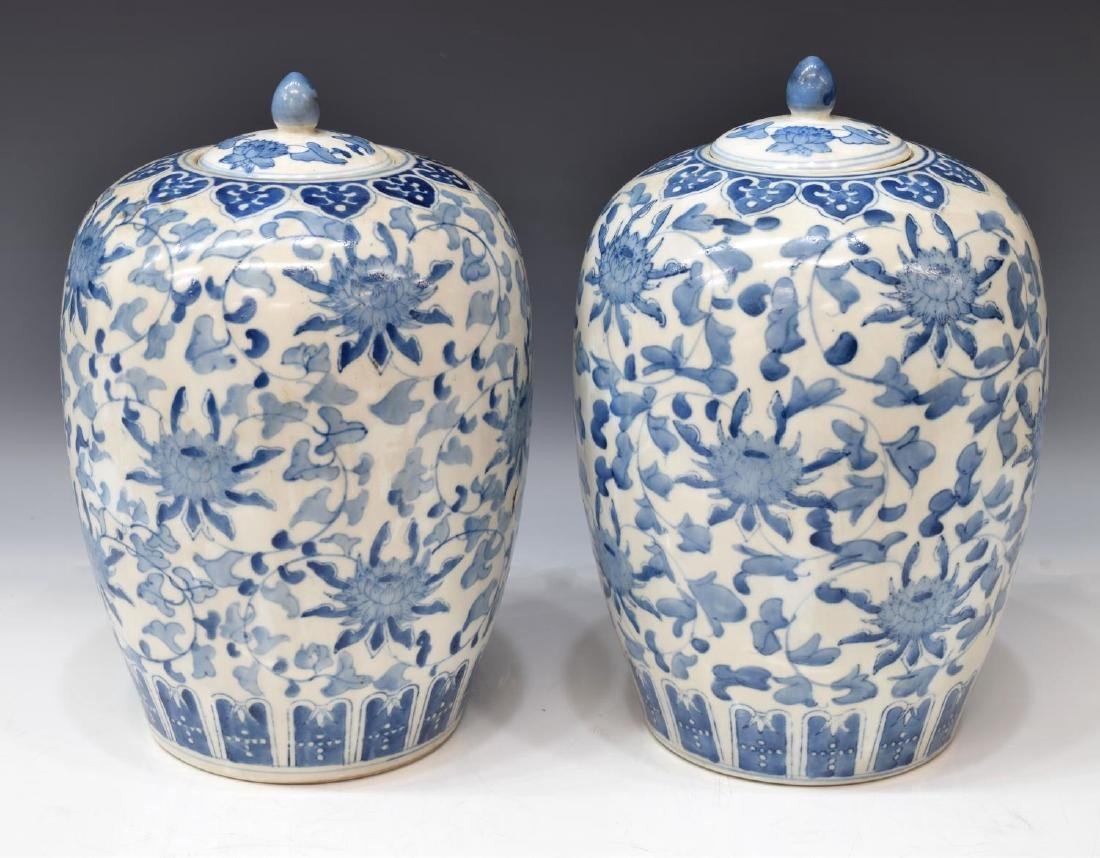 (2) CHINESE BLUE & WHITE PORCELAIN MELON JARS