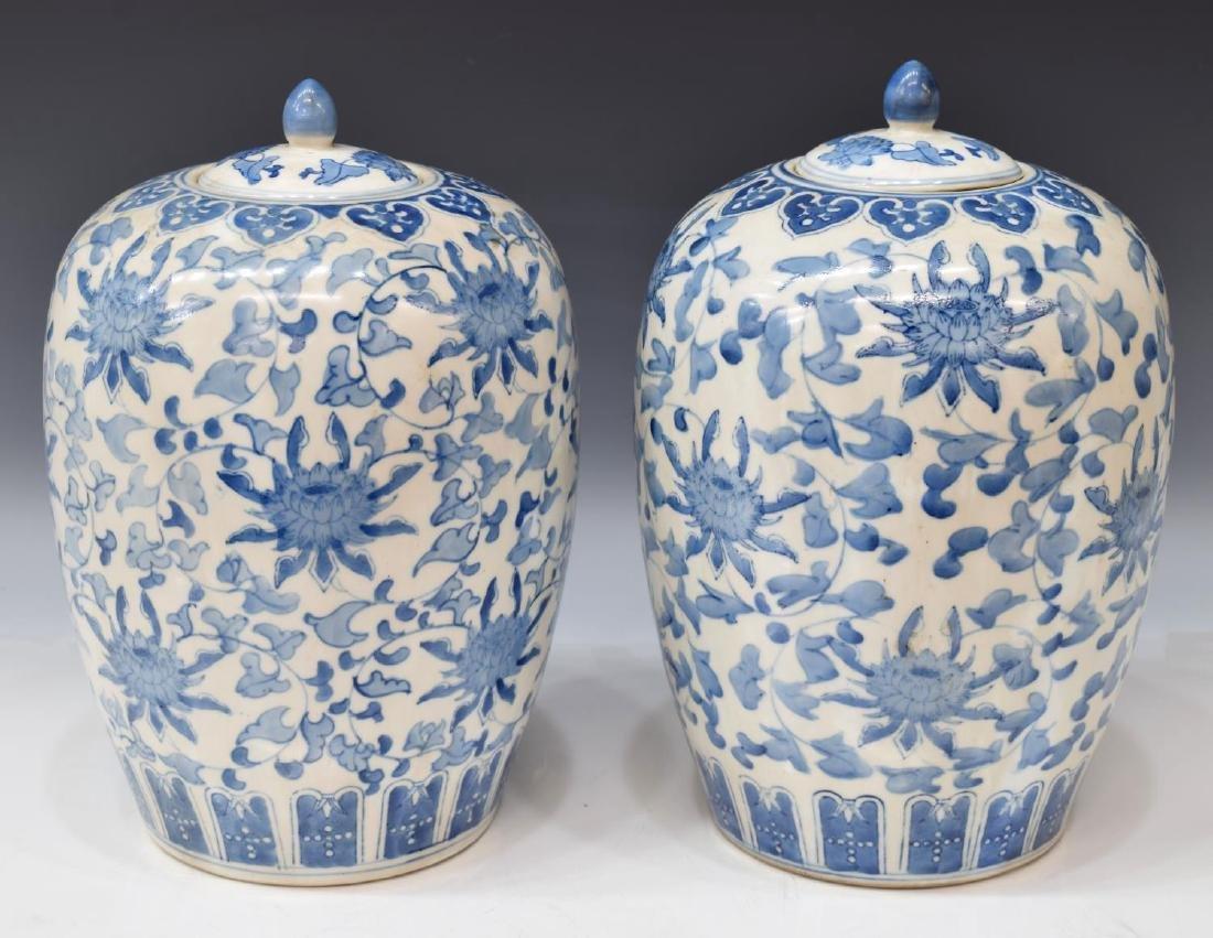 (2) CHINESE BLUE & WHITE PORCELAIN MELON JARS - 2