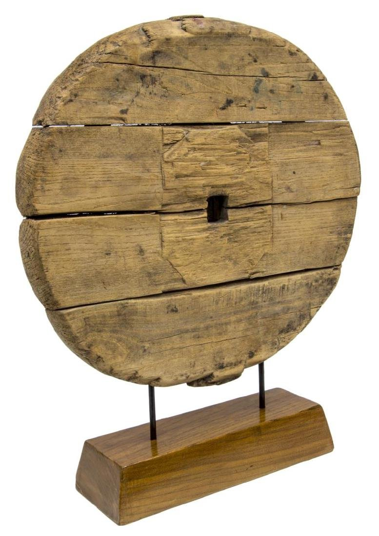 CHINESE CARVED WOOD CART WHEEL ON CUSTOM STAND