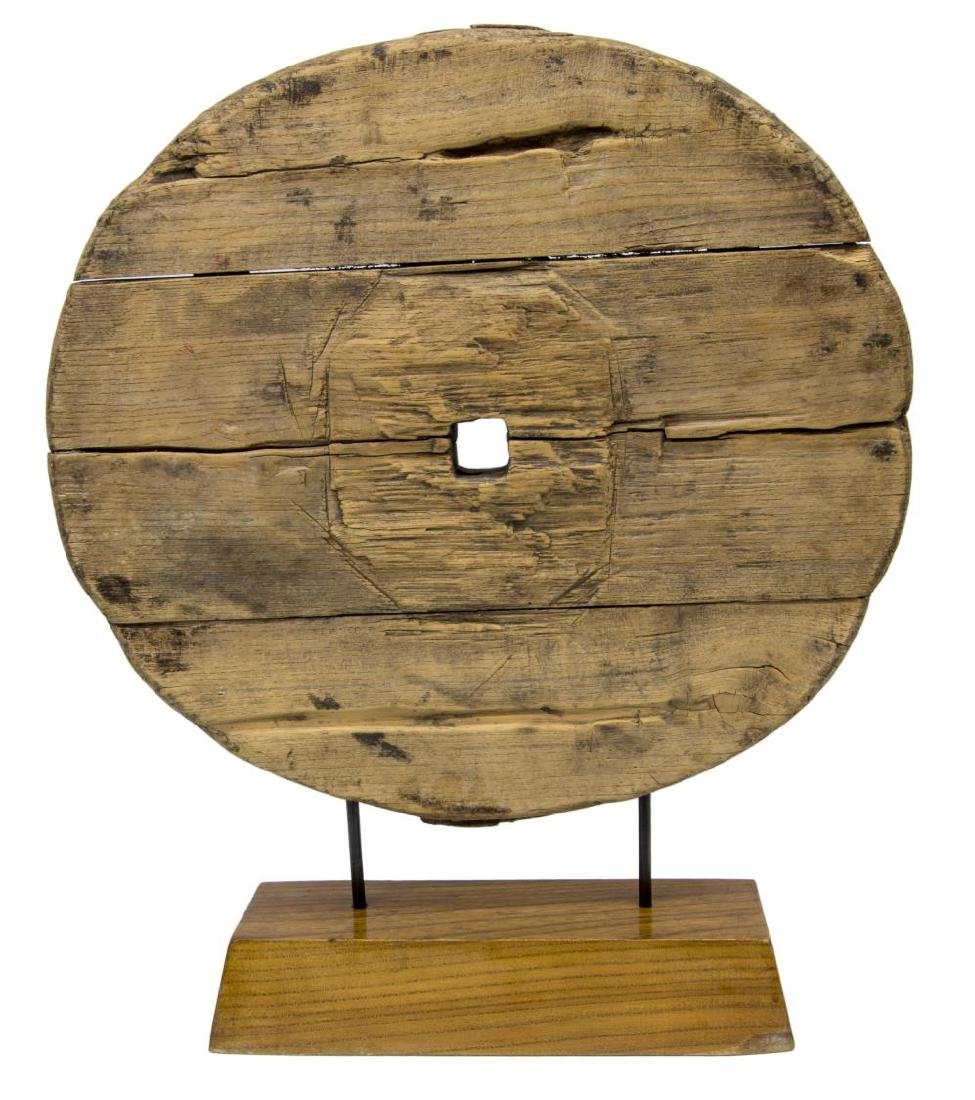 CHINESE CARVED WOOD CART WHEEL ON CUSTOM STAND - 2