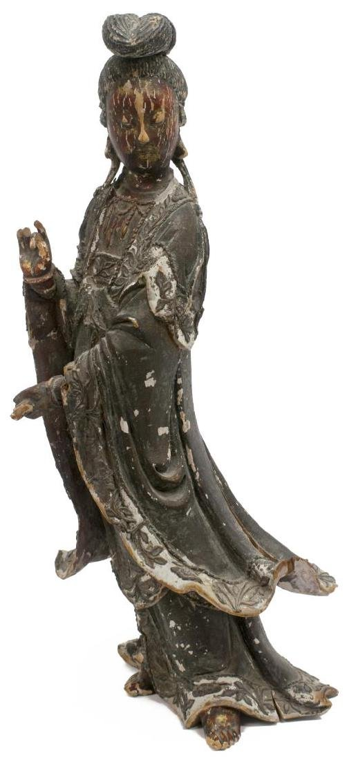 ASIAN POLYCHROME WOOD STATUE