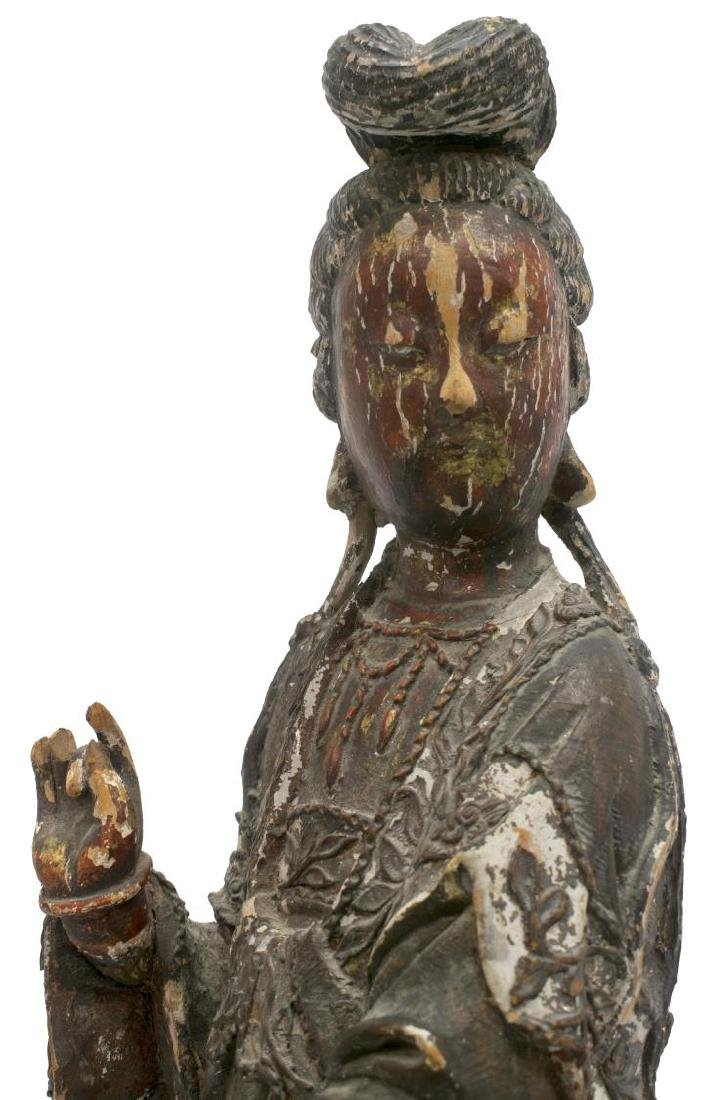 ASIAN POLYCHROME WOOD STATUE - 2