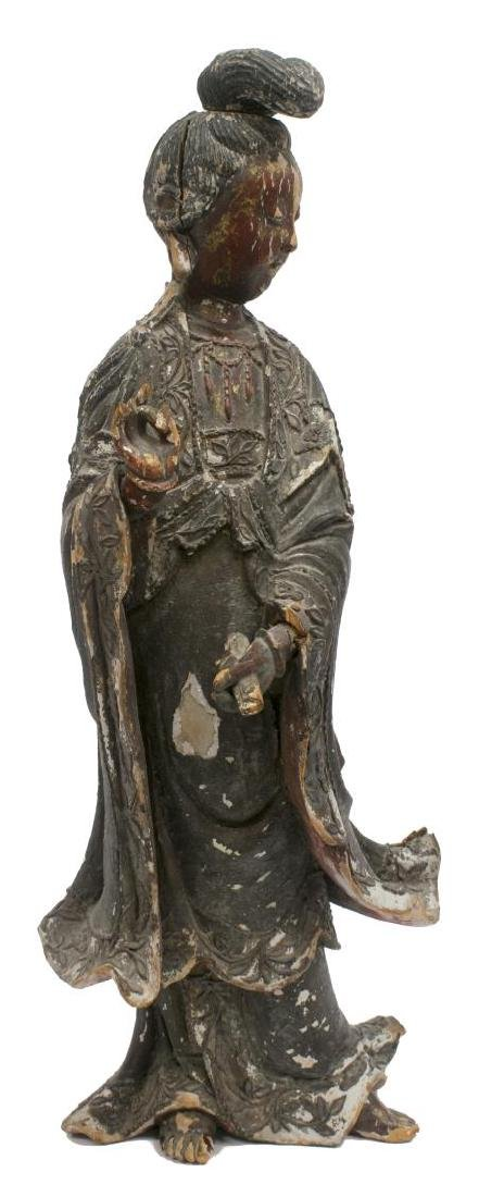 ASIAN POLYCHROME WOOD STATUE - 3