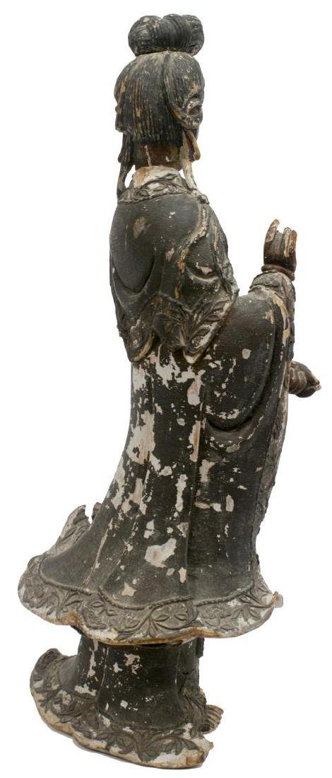 ASIAN POLYCHROME WOOD STATUE - 4