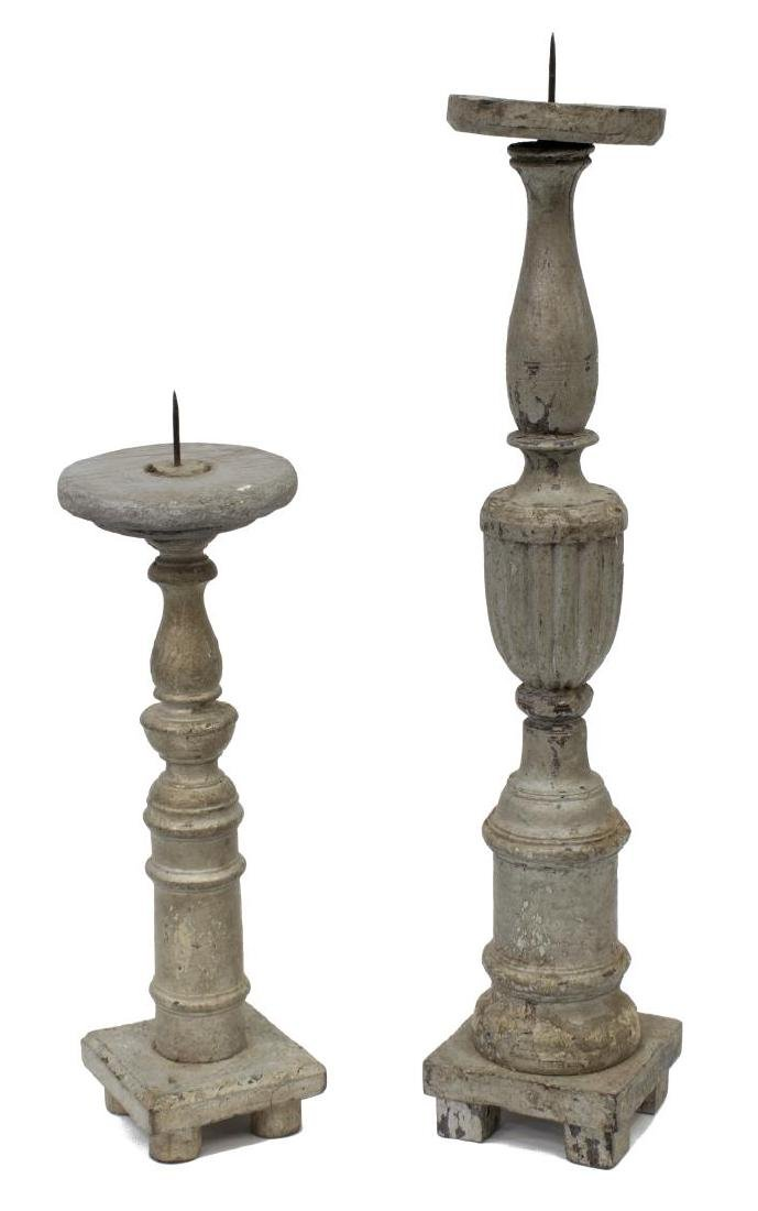 ANTIQUE RELIGIOUS COLONIAL WOOD CANDLESTICKS