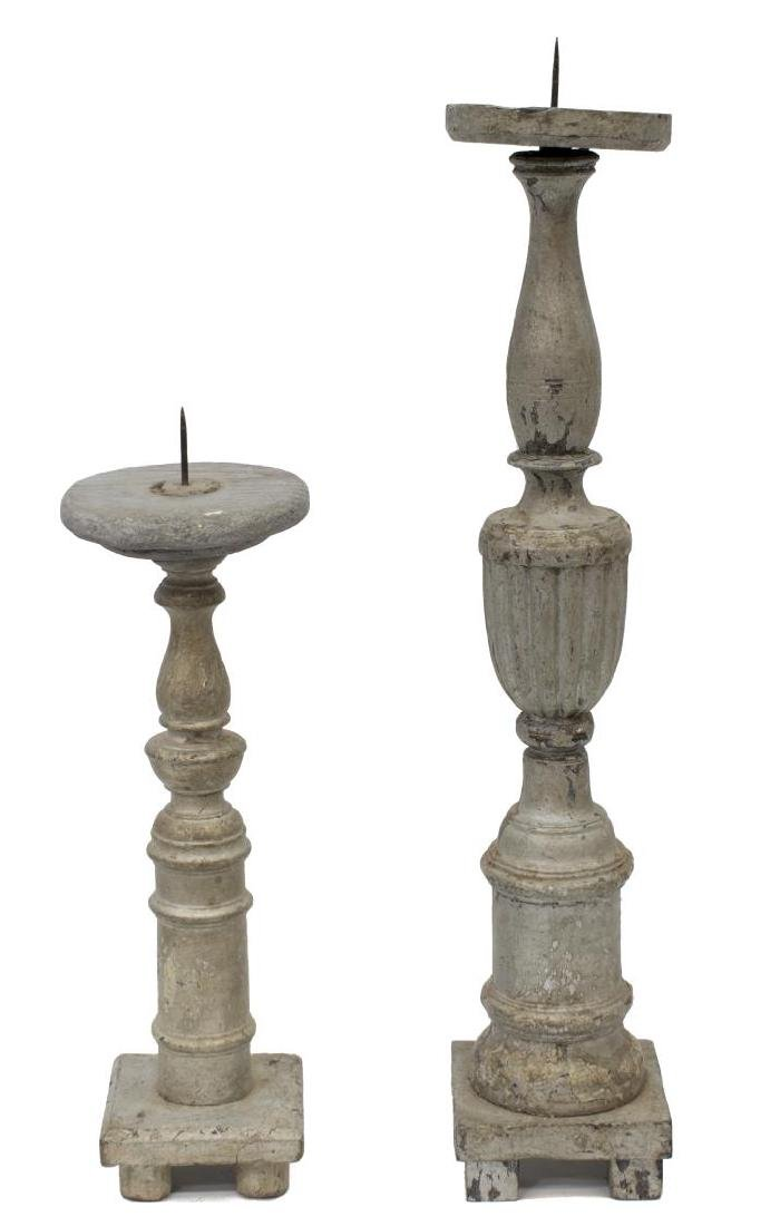 ANTIQUE RELIGIOUS COLONIAL WOOD CANDLESTICKS - 2