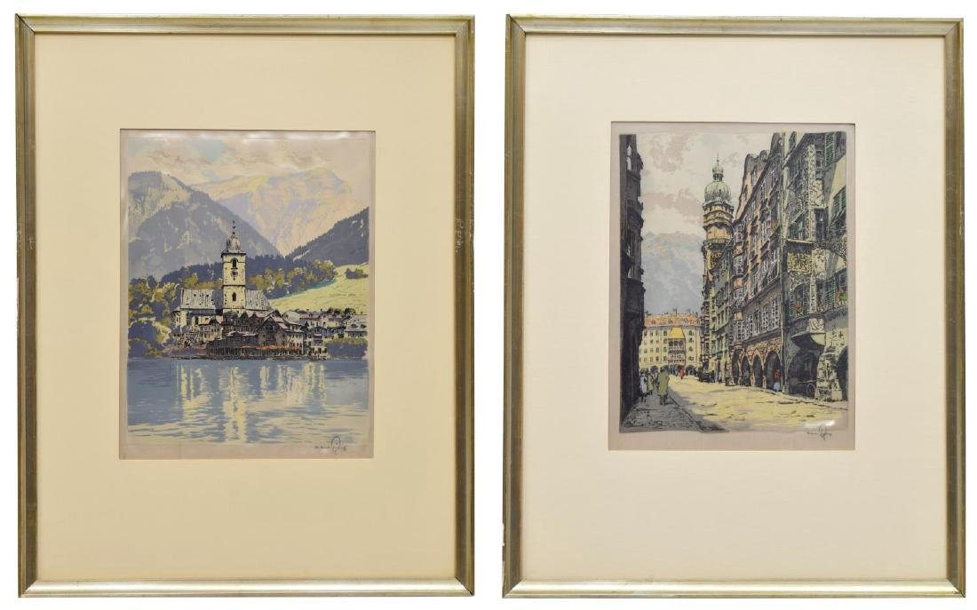 (2) HANS FIGURA (D.1978) FRAMED ETCHINGS ON SILK