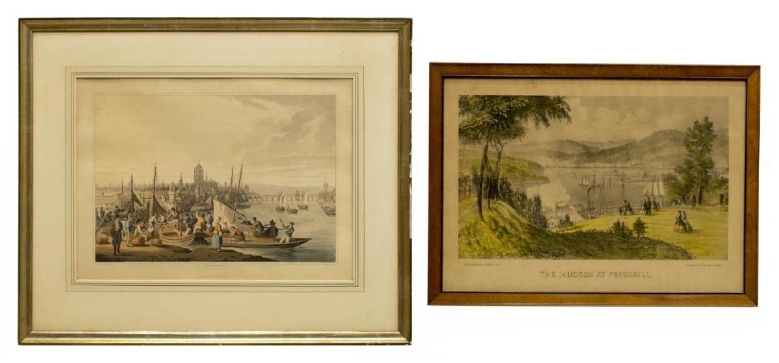 (2) CURRIER & IVES & 1814 FRANKFORT AQUATINT
