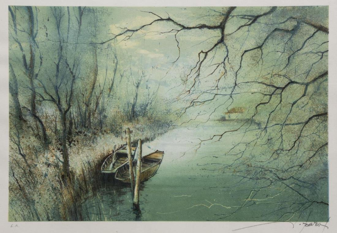 FRAMED LITHOGRAPH, BOATS ON THE WATER, SIGNED