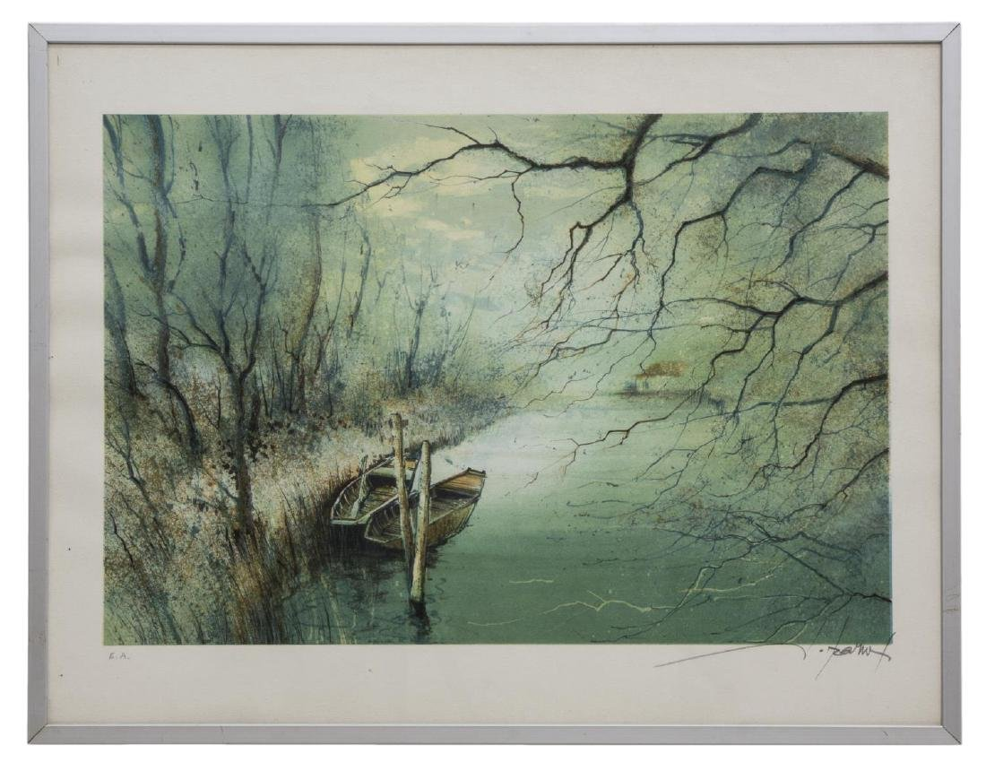 FRAMED LITHOGRAPH, BOATS ON THE WATER, SIGNED - 2