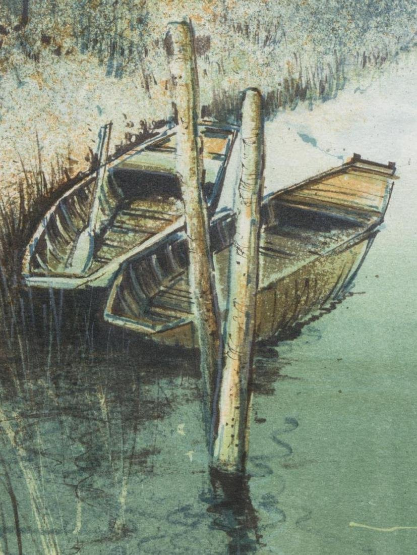 FRAMED LITHOGRAPH, BOATS ON THE WATER, SIGNED - 3