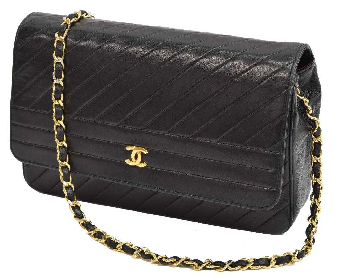 6eb4ab7aceaa12 CHANEL BLACK DIAGONAL QUILTED LEATHER FLAP BAG