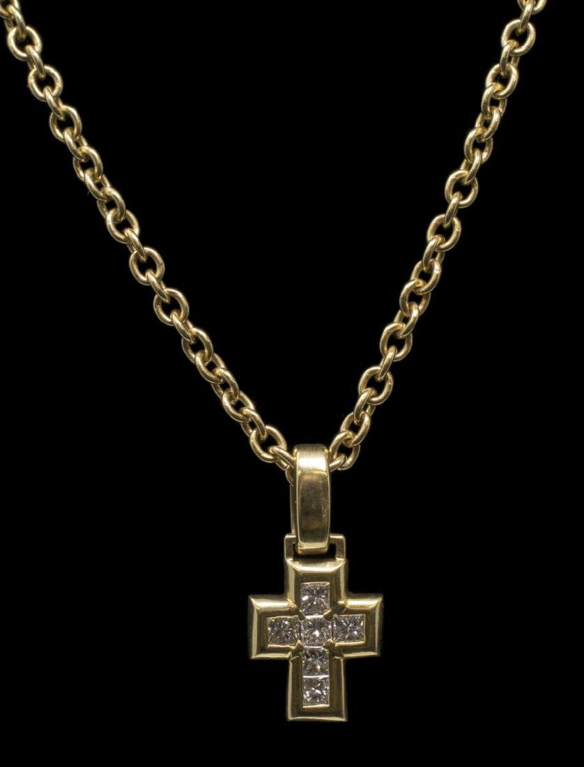 BULGARI 18K YELLOW GOLD DIAMOND CROSS NECKLACE