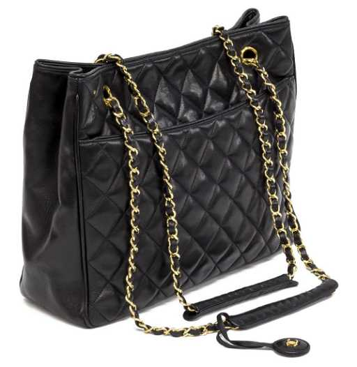 6935c5e0f9e36 CHANEL QUILTED BLACK LEATHER CHAIN TOTE BAG