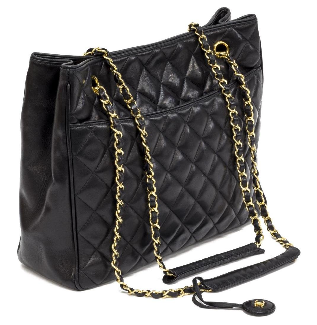 a0a80ebc009 CHANEL QUILTED BLACK LEATHER CHAIN TOTE BAG