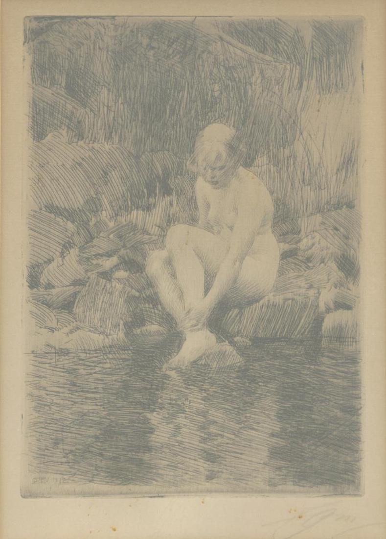 "ANDERS ZORN (1860-1920) NUDE ""DAGMAR"" ETCHING"