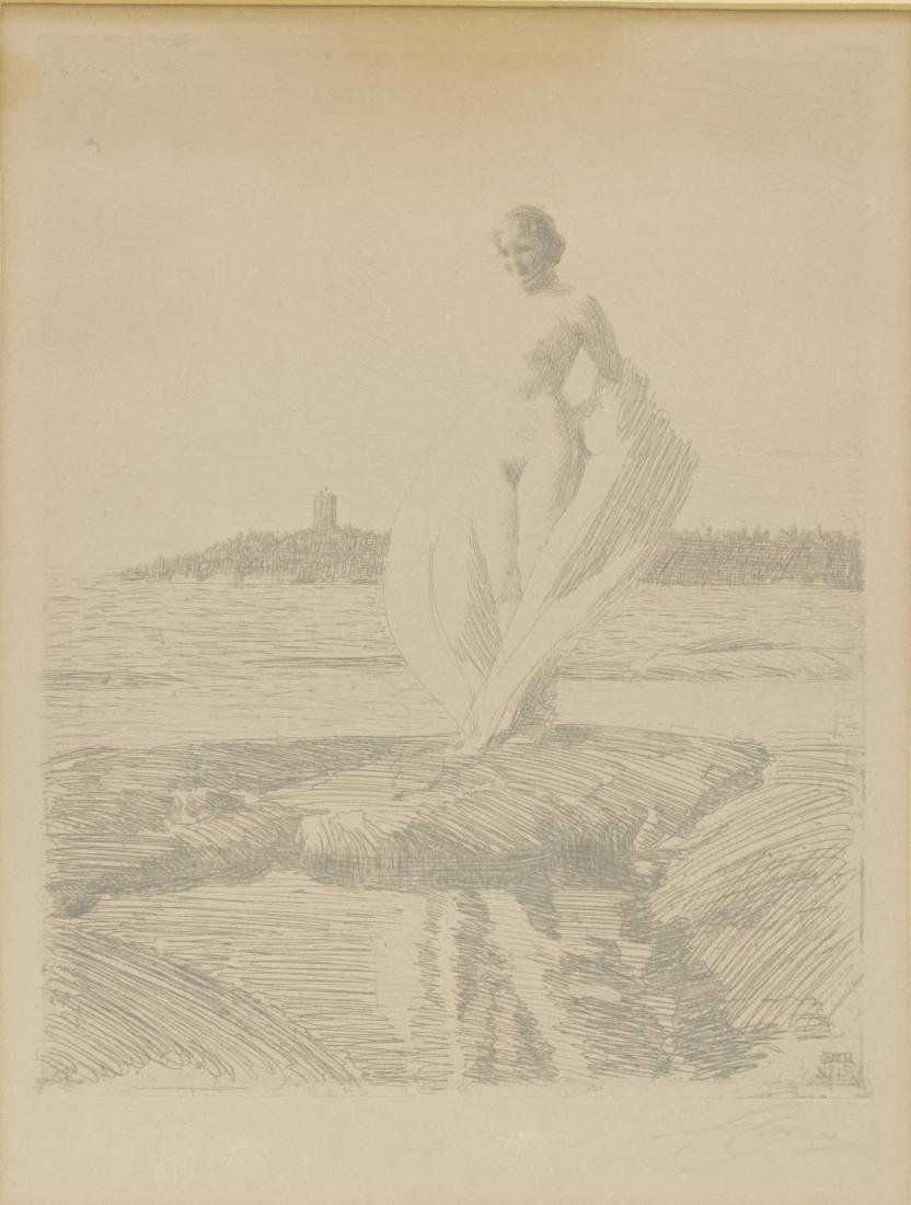 """ANDERS ZORN (1860-1920) NUDE """"THE SWAN"""" ETCHING"""