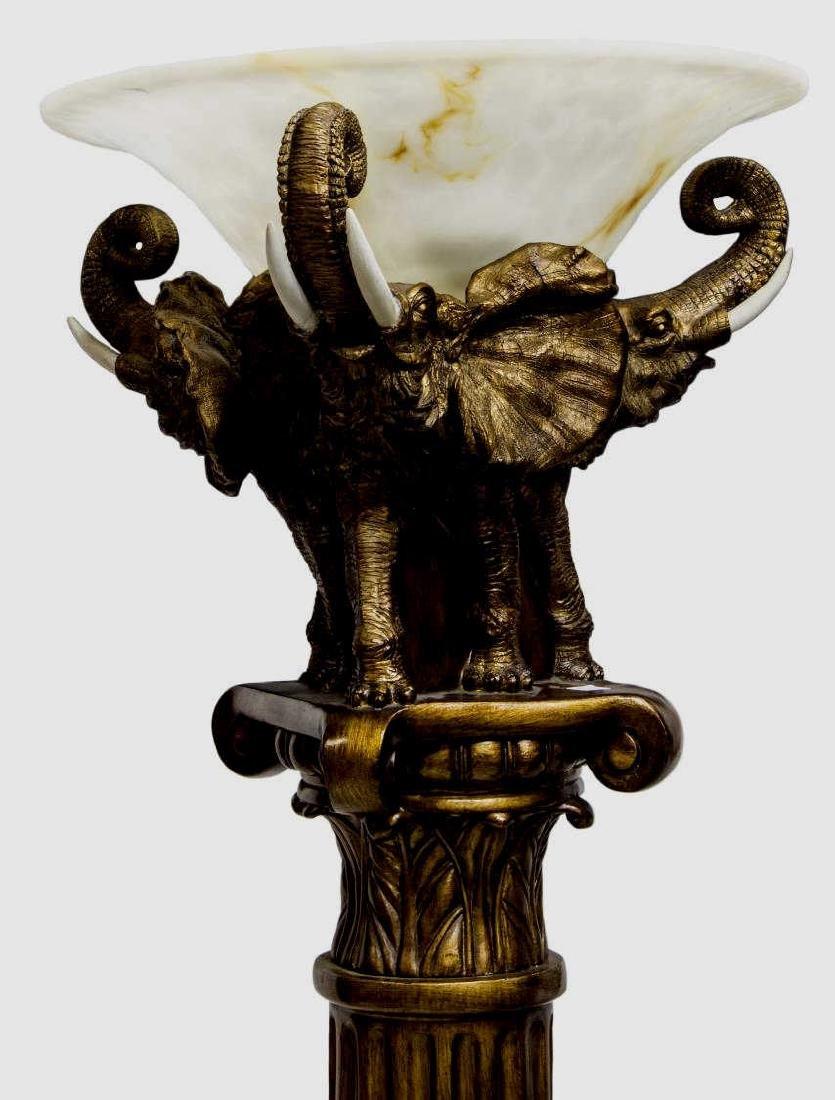 CONTINENTAL CAST ELEPHANT U0026 COLUMN FLOOR LAMP
