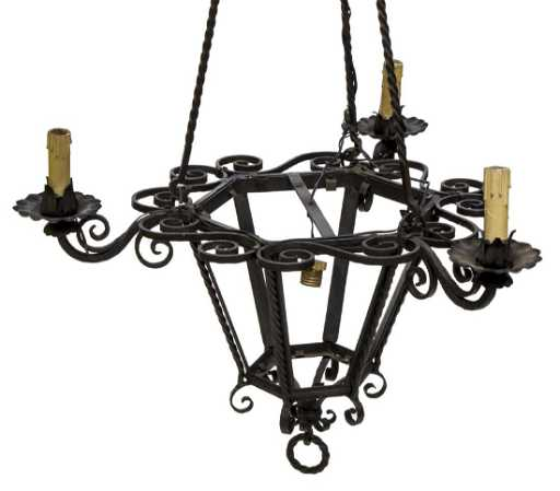Italian black wrought iron lantern chandelier aloadofball Gallery