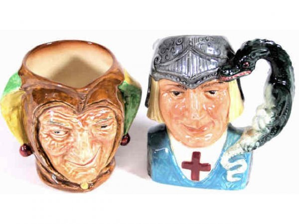 402: TWO ROYAL DOULTON TOBY MUGS JESTER & ST. GEORGE