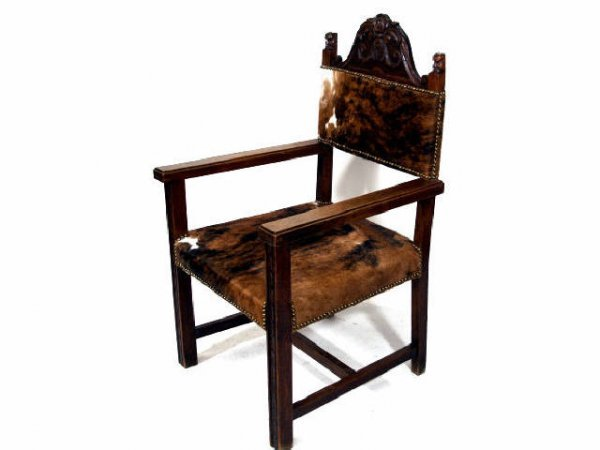 411: ANTIQUE OAK ARM CHAIR COWHIDE COVERED