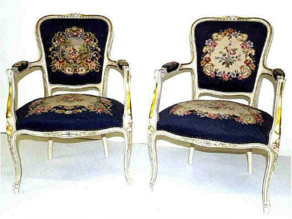 413: TWO LOUIS XV STYLE ARM CHAIRS NEEDLE POINT